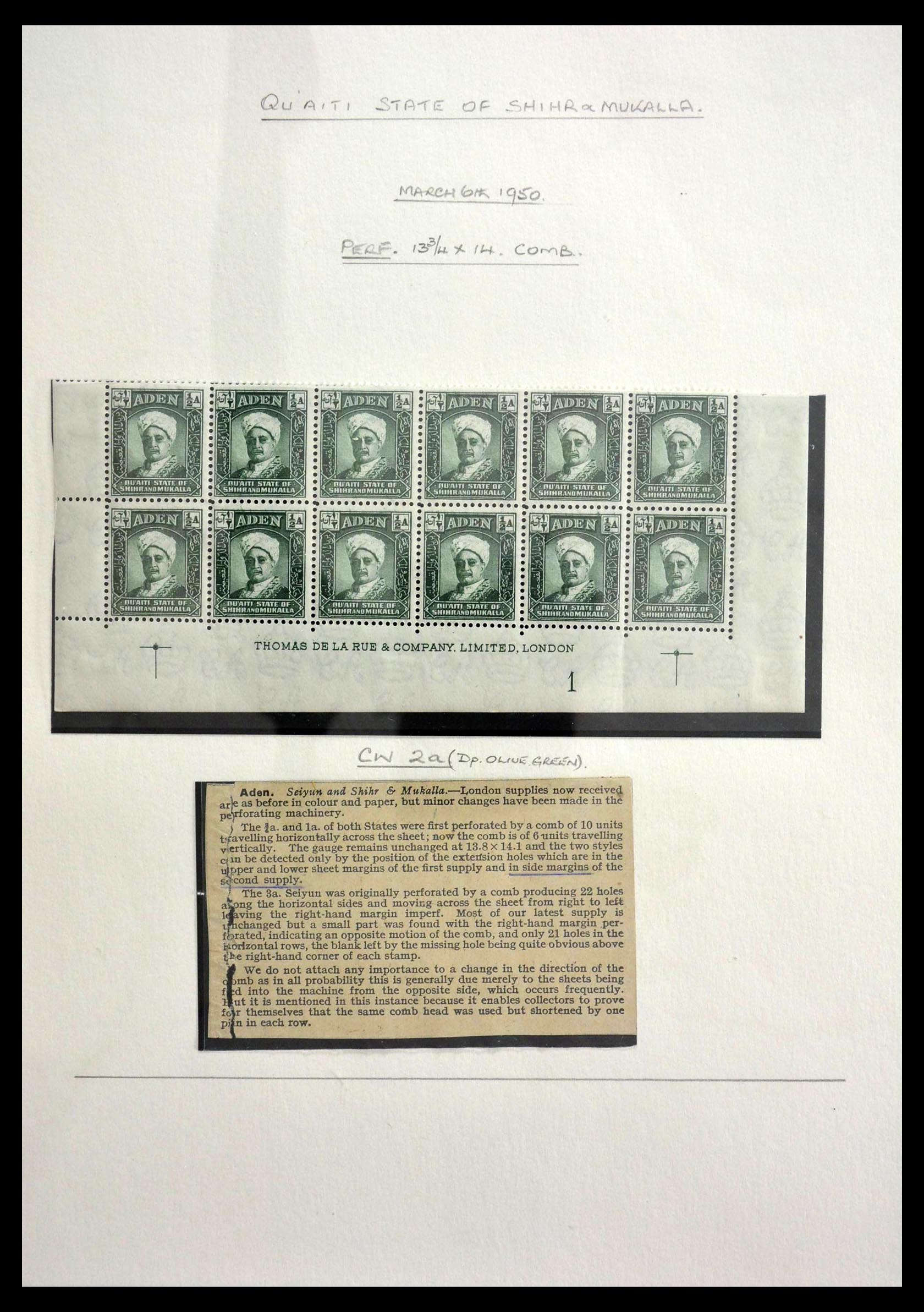 28672 003 - Stamp collection 28672 Aden Qu'aiti State 1942-1966.