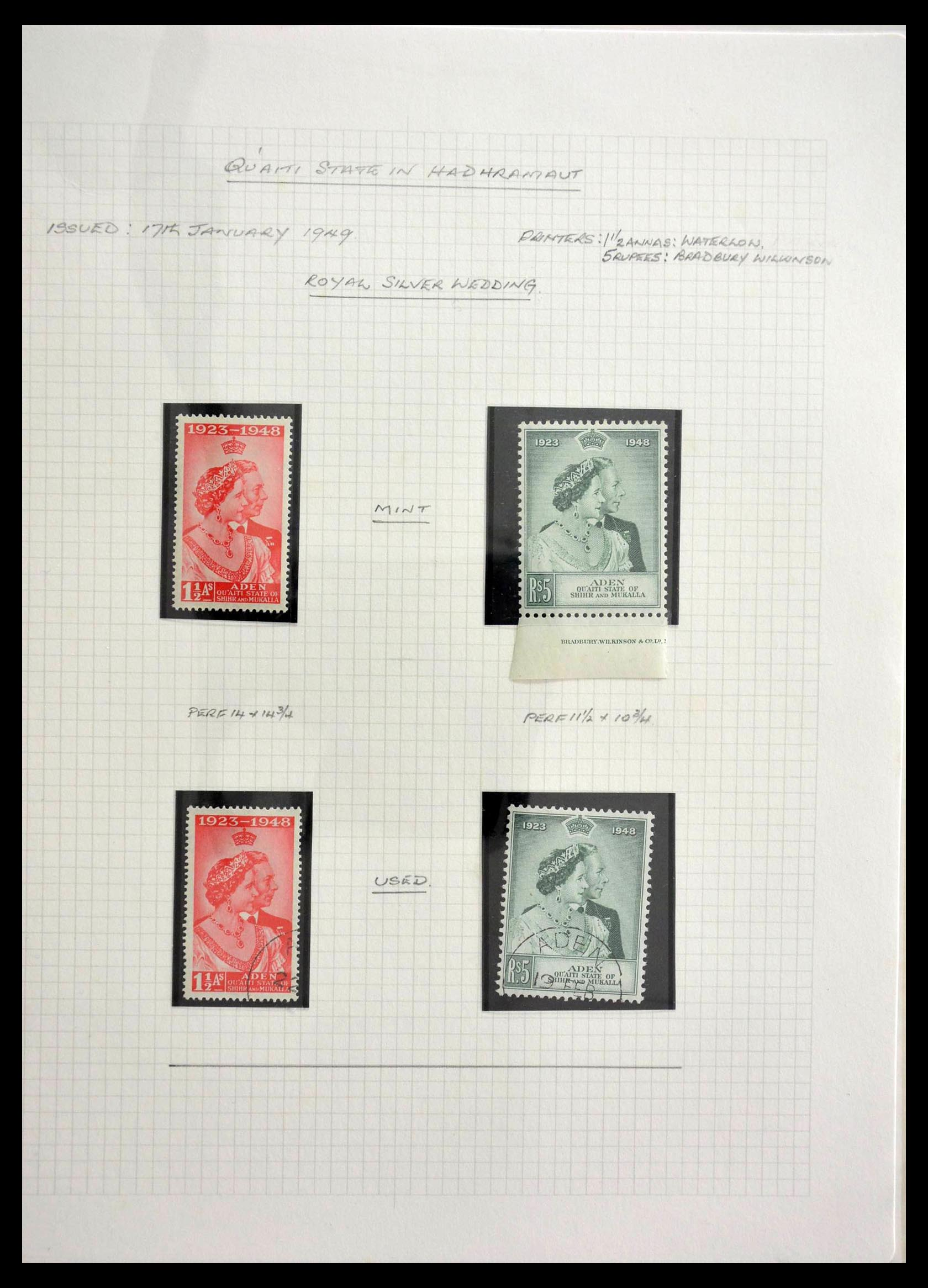 28672 012 - Stamp collection 28672 Aden Qu'aiti State 1942-1966.