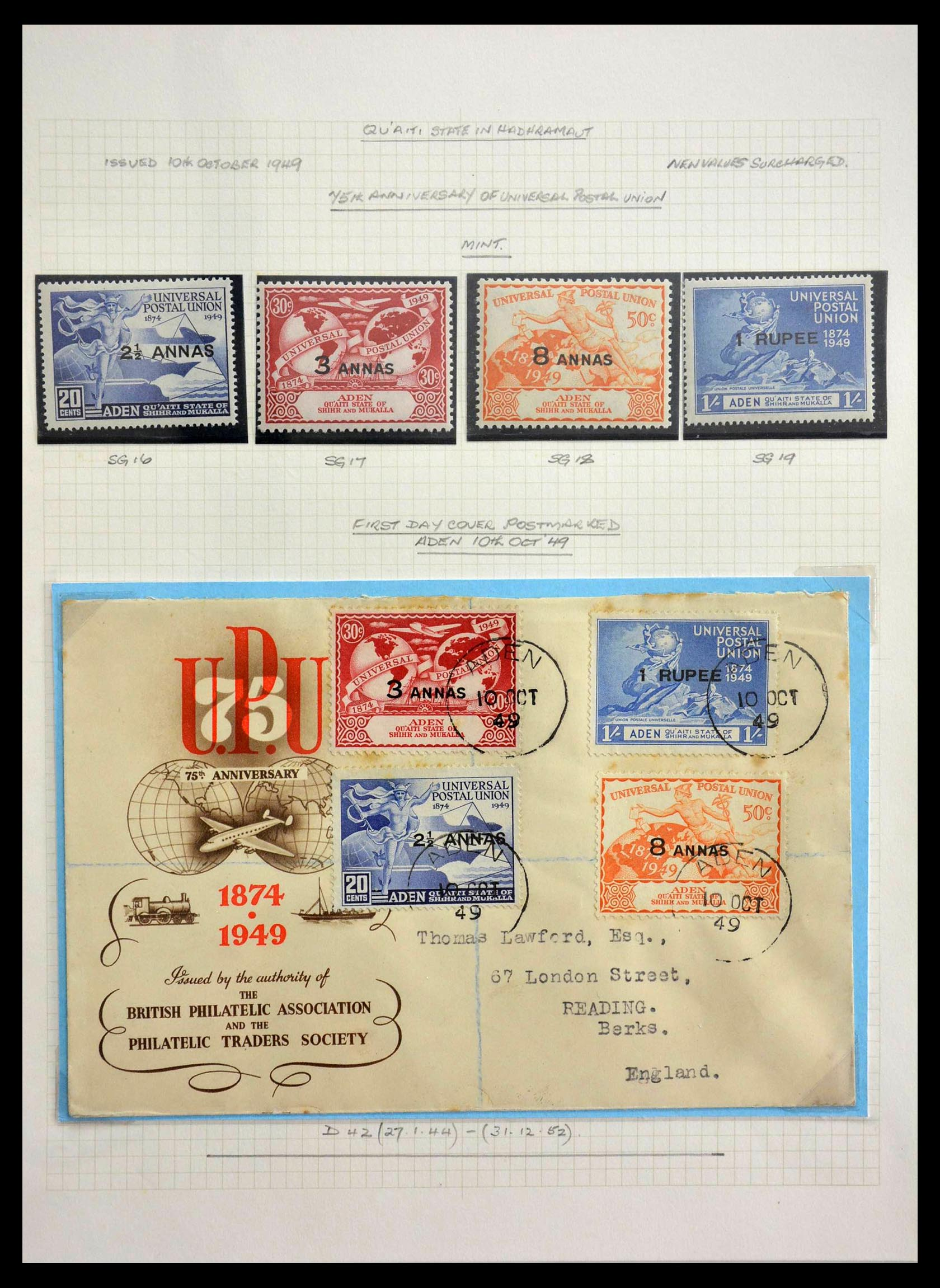 28672 014 - Stamp collection 28672 Aden Qu'aiti State 1942-1966.