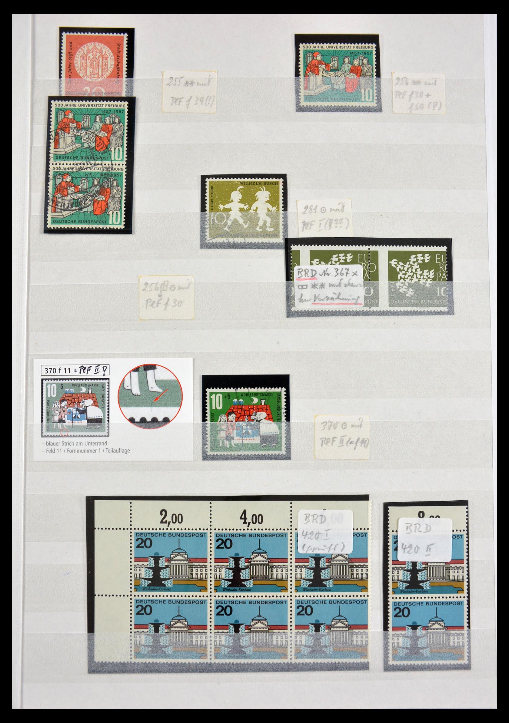 29491 001 - 29491 Bundespost plateflaws 1957-1994.