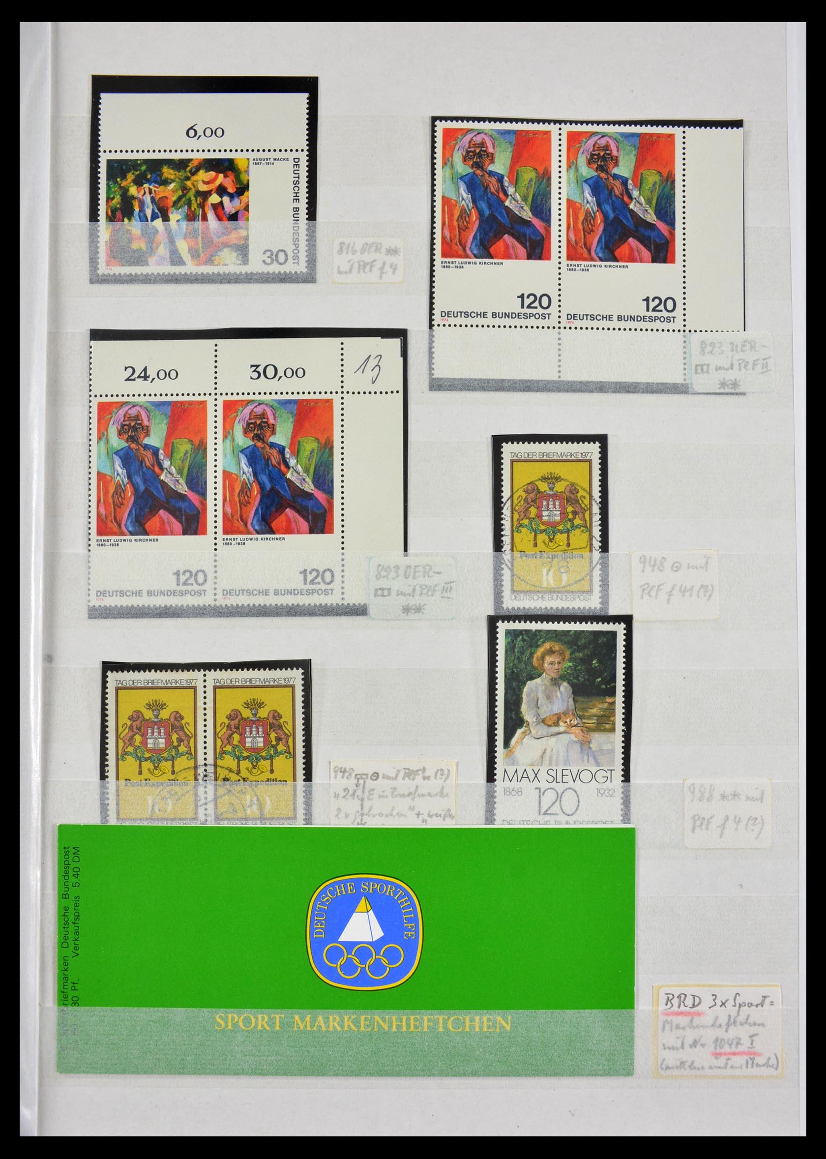 29491 003 - 29491 Bundespost plateflaws 1957-1994.