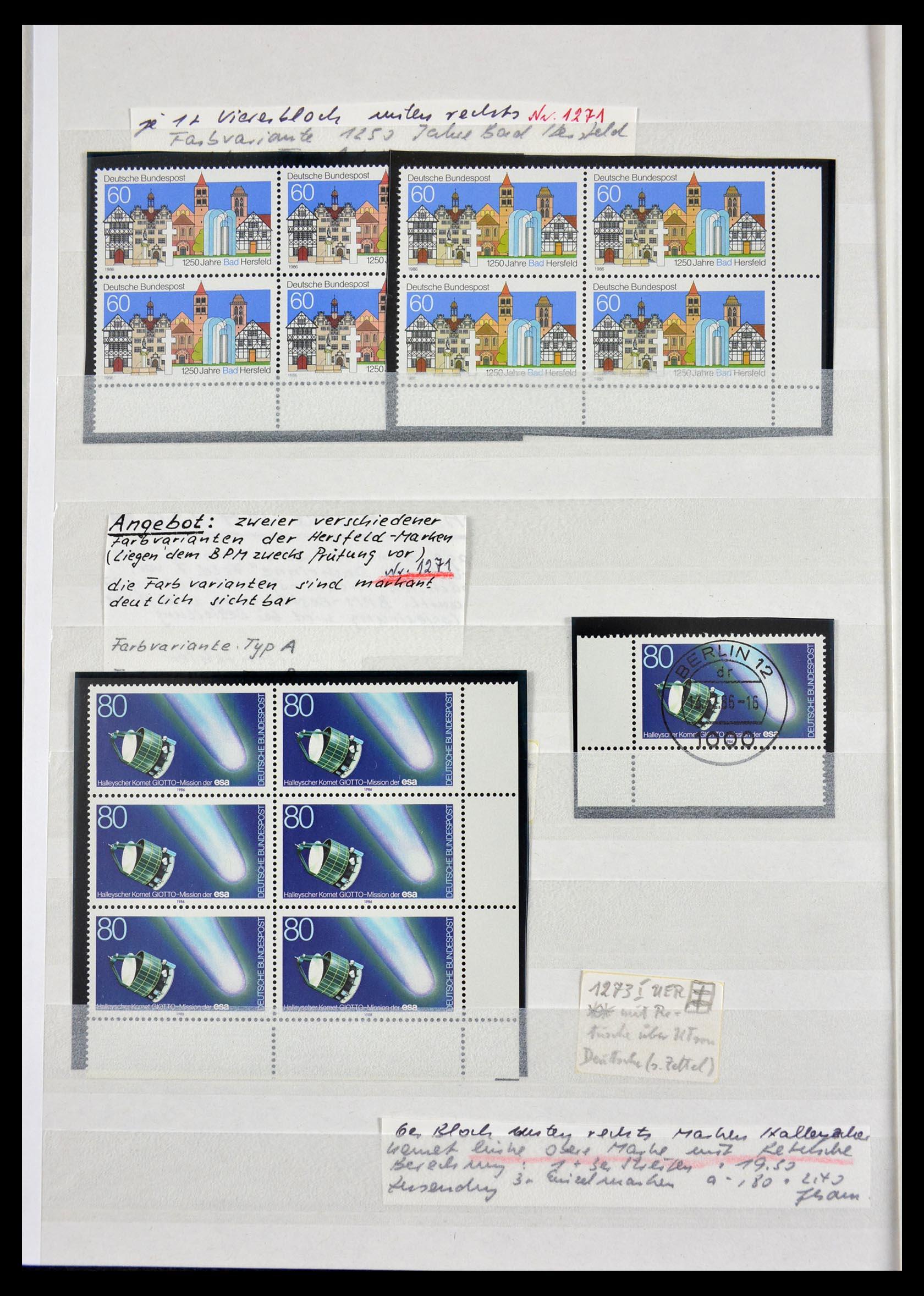 29491 008 - 29491 Bundespost plateflaws 1957-1994.