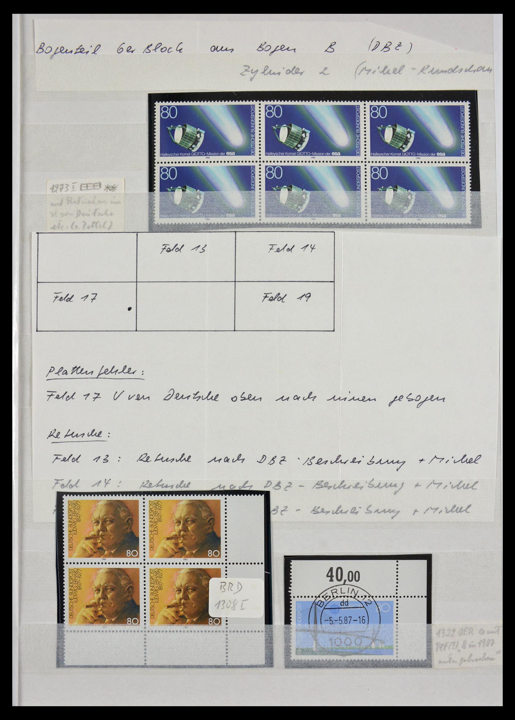 29491 011 - 29491 Bundespost plateflaws 1957-1994.