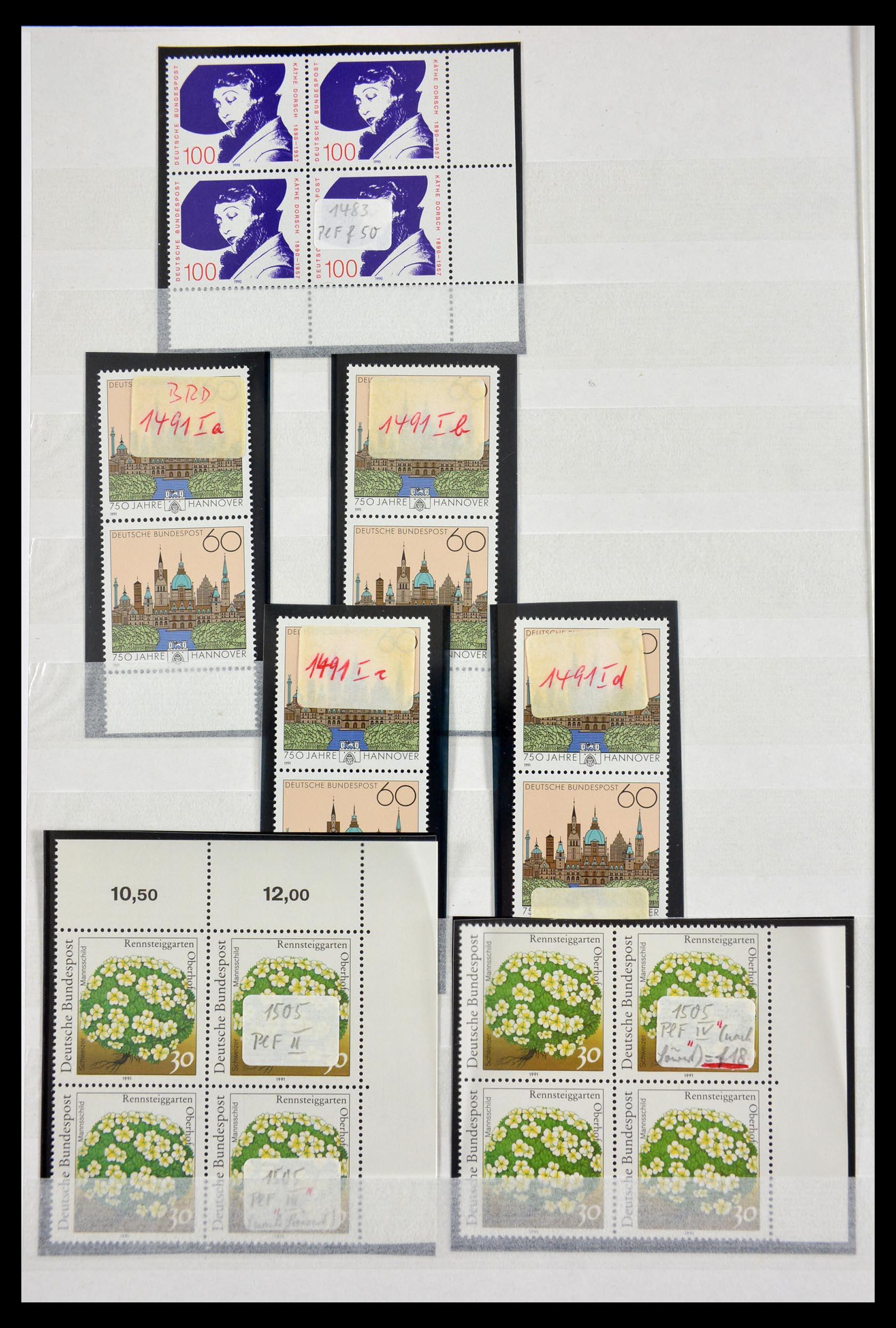 29491 018 - 29491 Bundespost plateflaws 1957-1994.