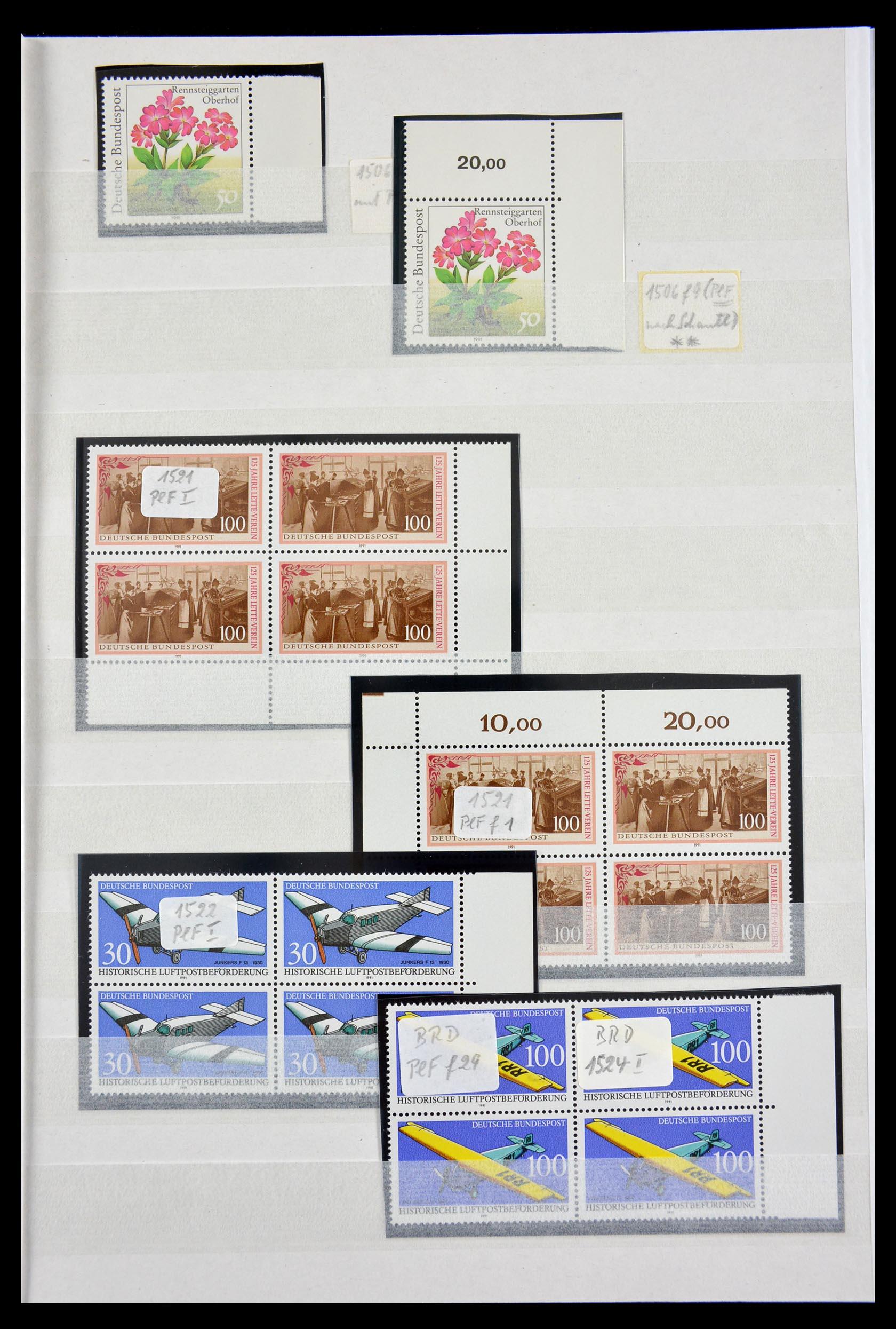 29491 019 - 29491 Bundespost plateflaws 1957-1994.