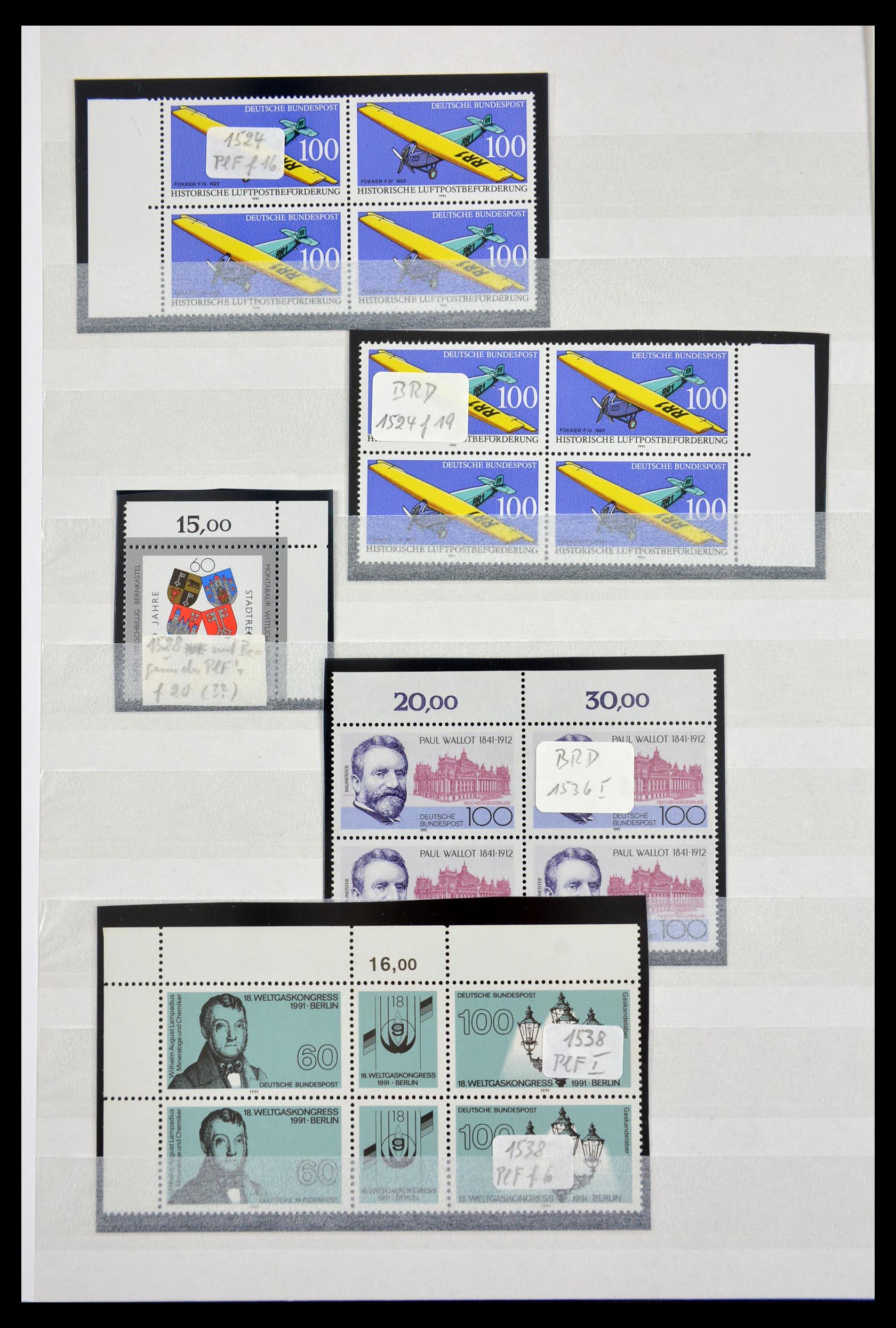 29491 020 - 29491 Bundespost plateflaws 1957-1994.