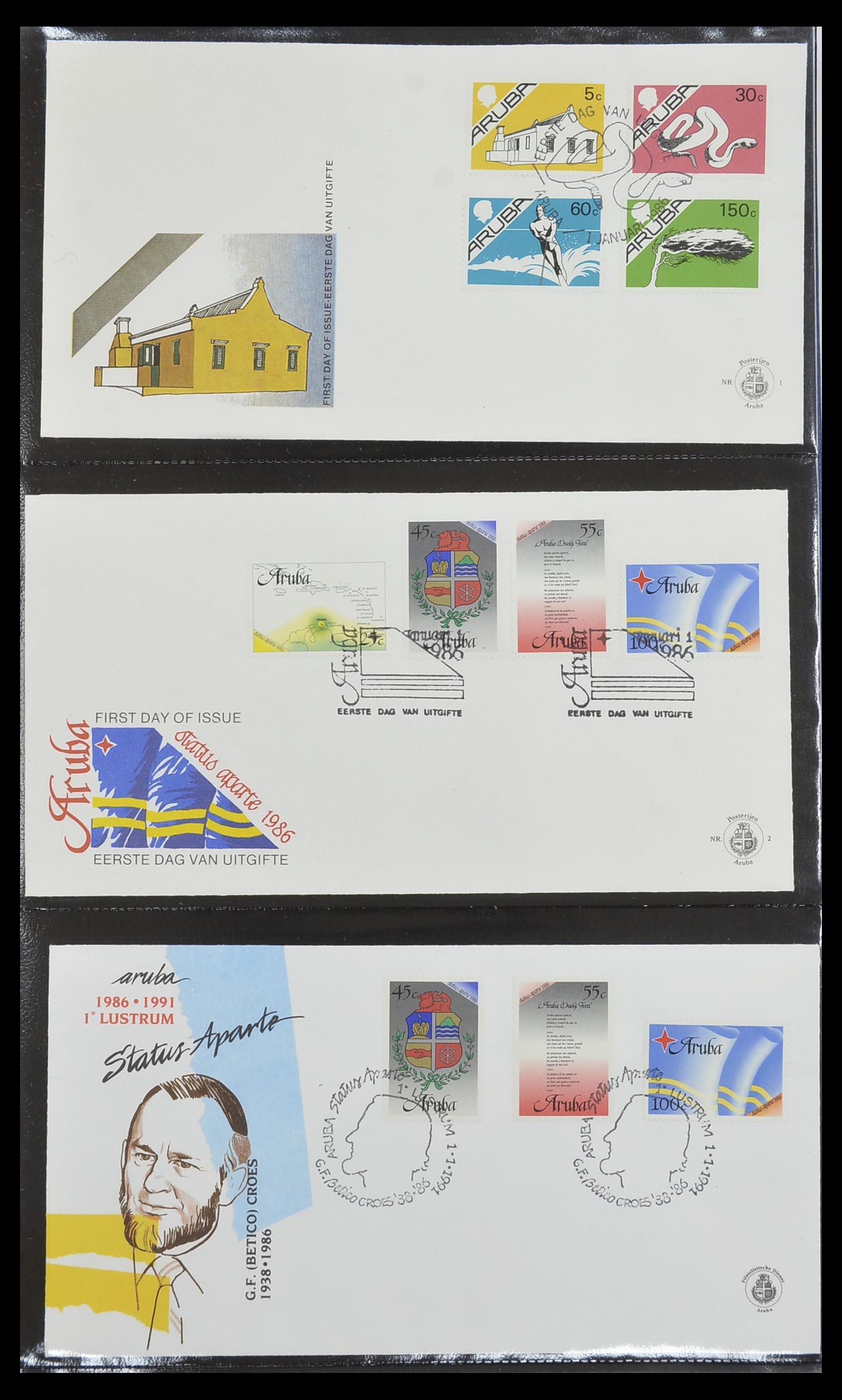33585 001 - Postzegelverzameling 33585 Aruba FDC's 1986-2006.
