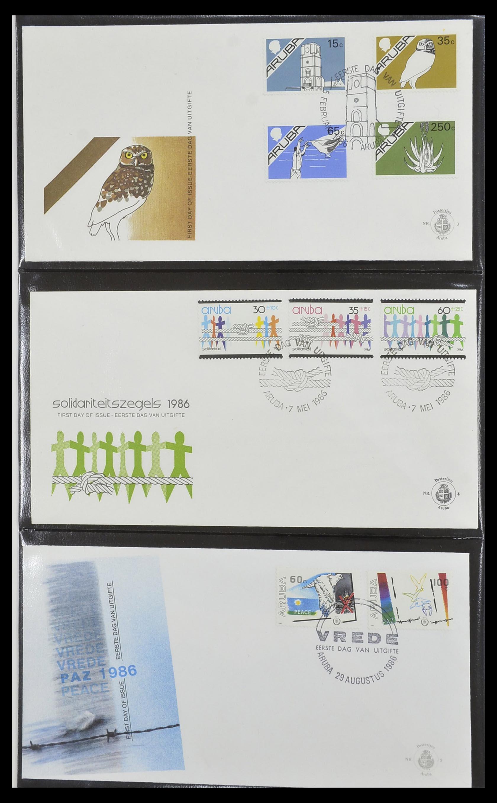 33585 002 - Postzegelverzameling 33585 Aruba FDC's 1986-2006.