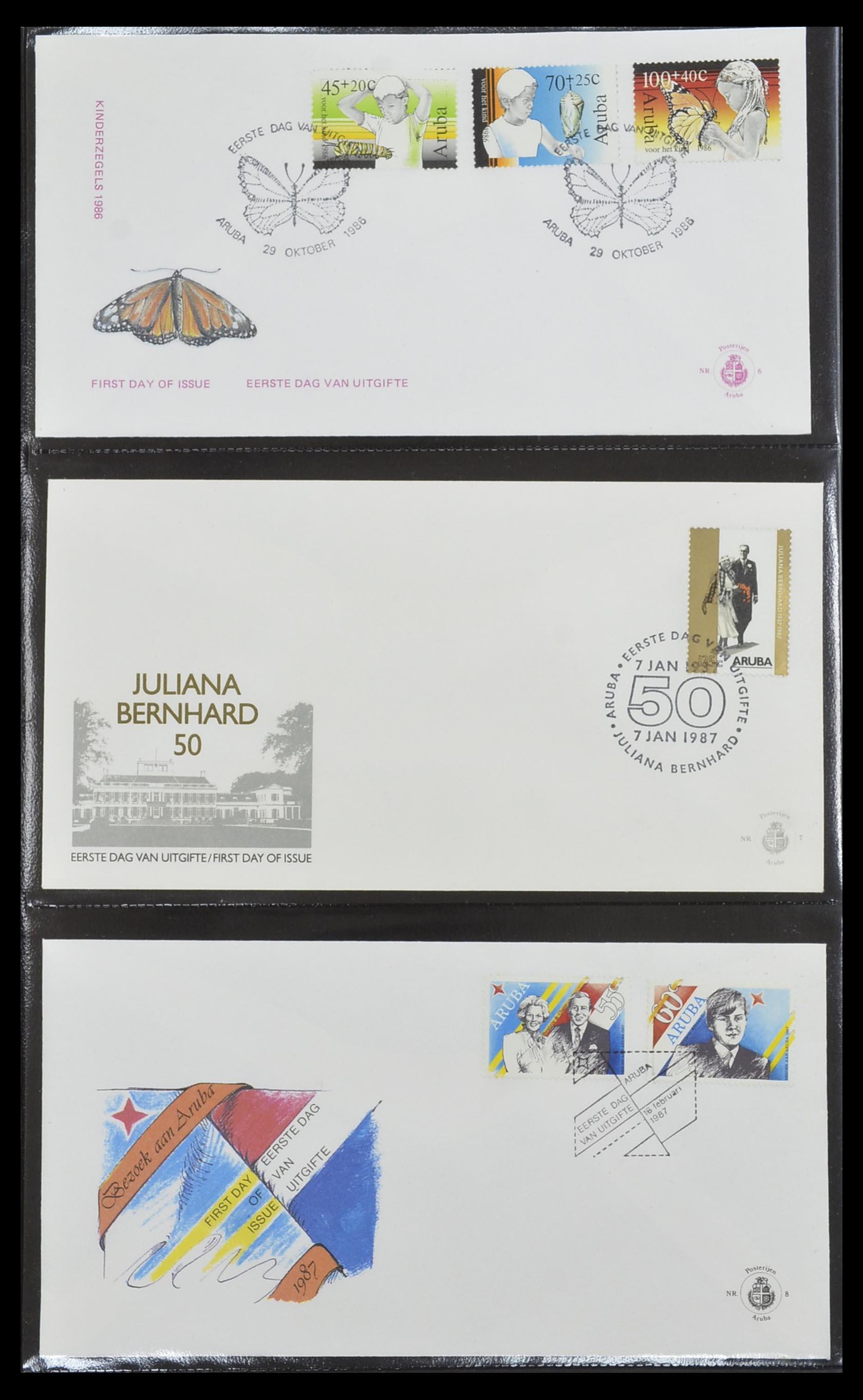 33585 003 - Postzegelverzameling 33585 Aruba FDC's 1986-2006.