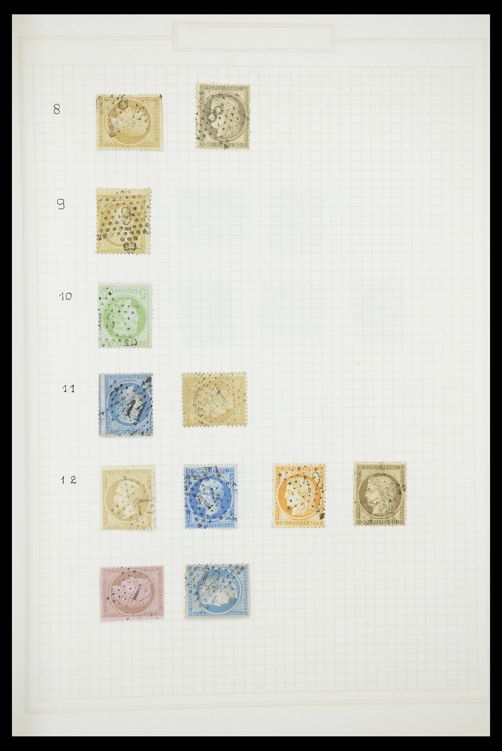 33851 003 - Postzegelverzameling 33851 Frankrijk klassiek stempels.