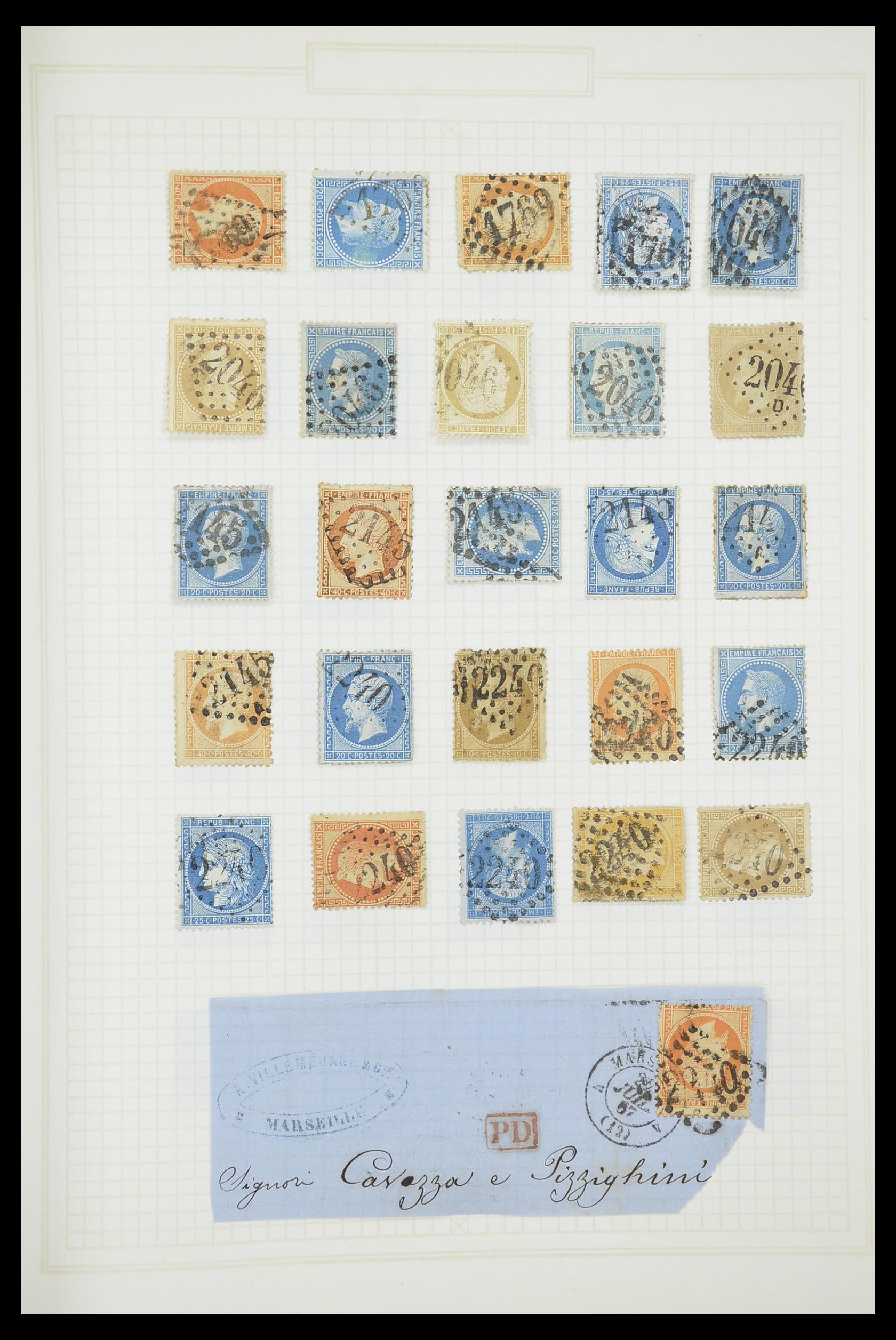 33851 012 - Postzegelverzameling 33851 Frankrijk klassiek stempels.