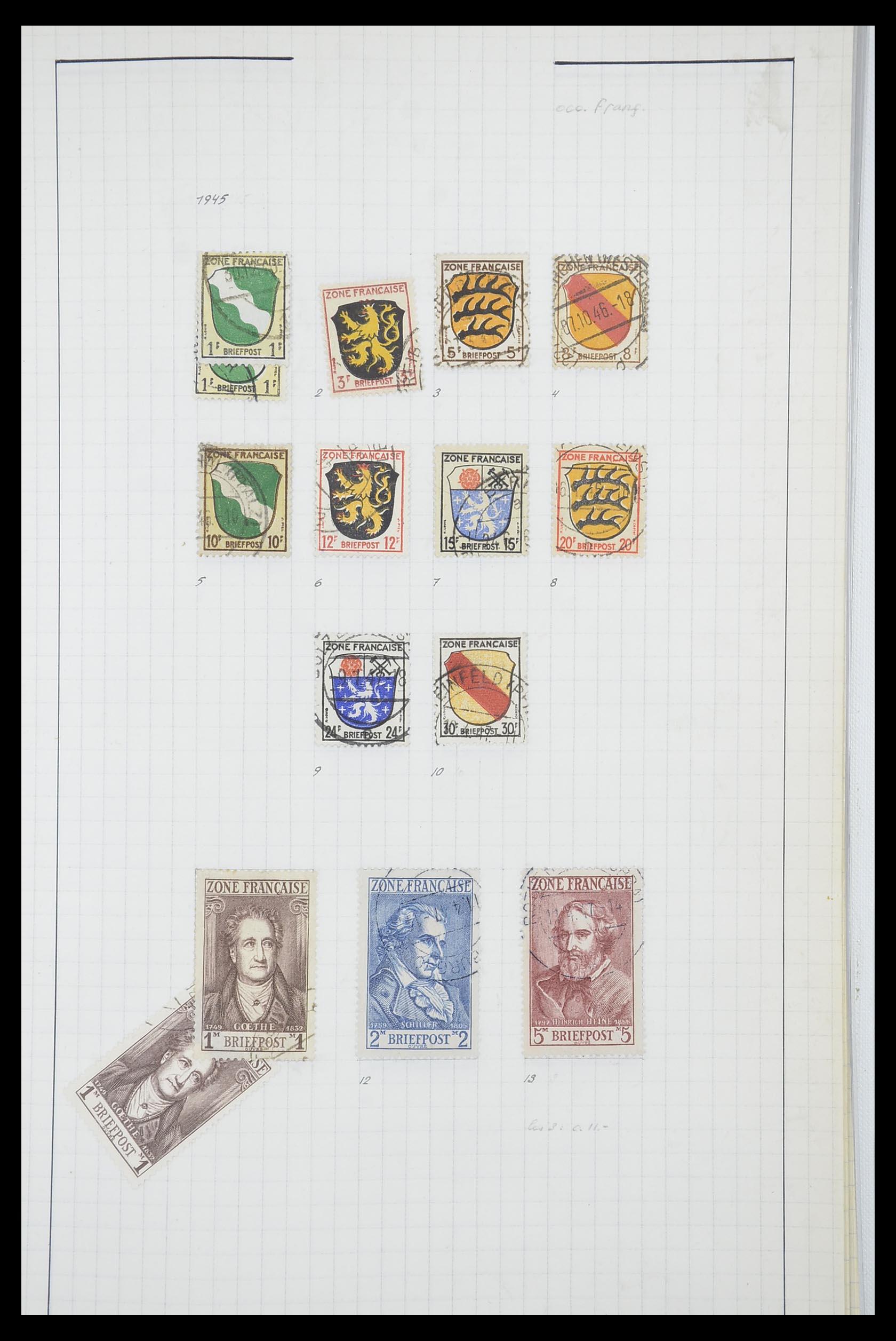 33864 001 - Postzegelverzameling 33864 Franse Zone 1945-1949.