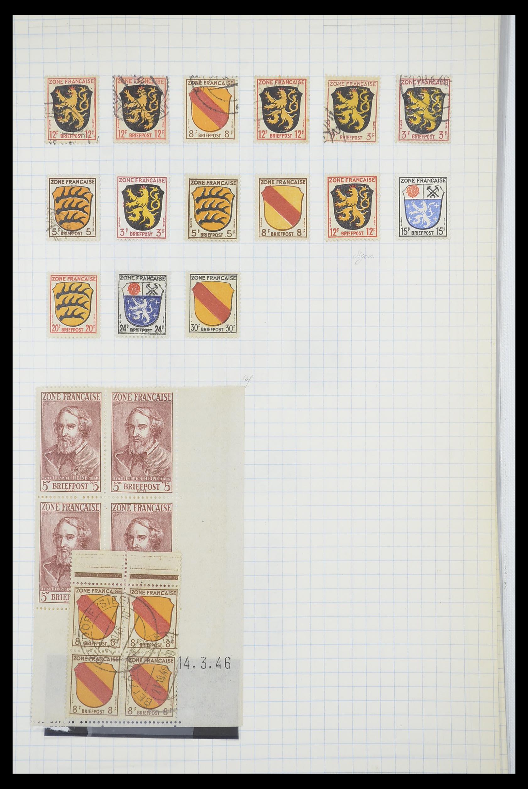 33864 004 - Postzegelverzameling 33864 Franse Zone 1945-1949.