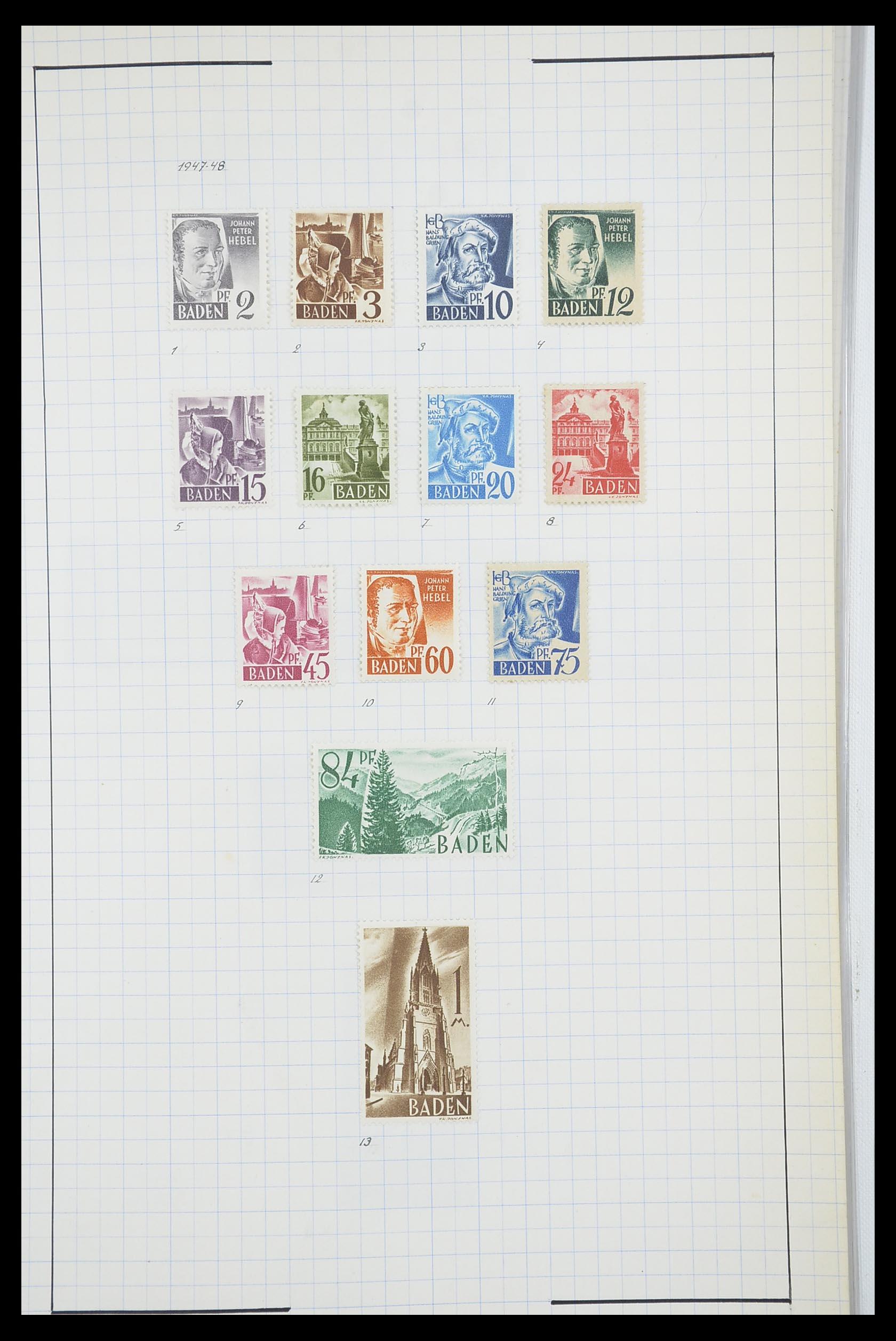 33864 005 - Postzegelverzameling 33864 Franse Zone 1945-1949.