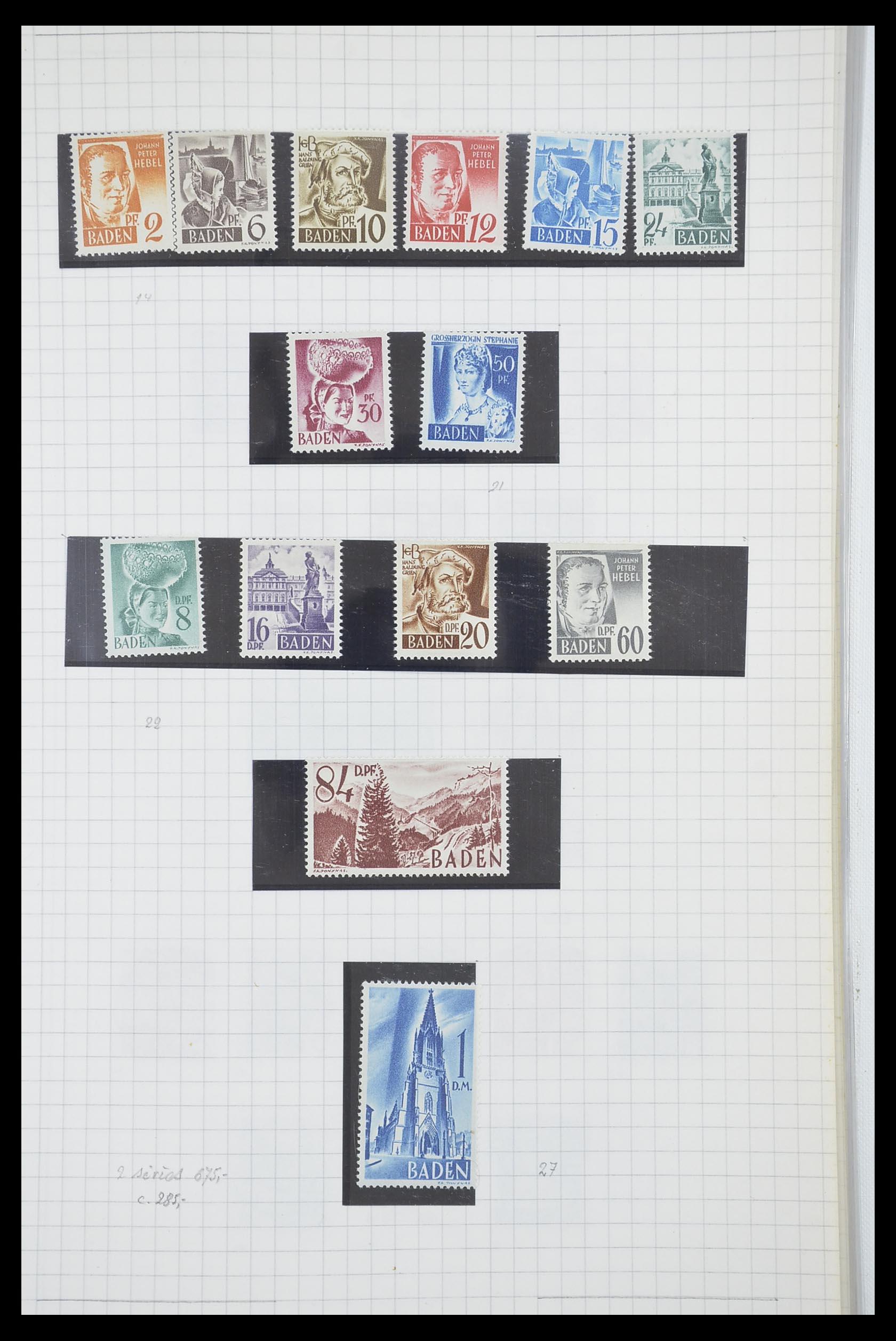 33864 006 - Postzegelverzameling 33864 Franse Zone 1945-1949.