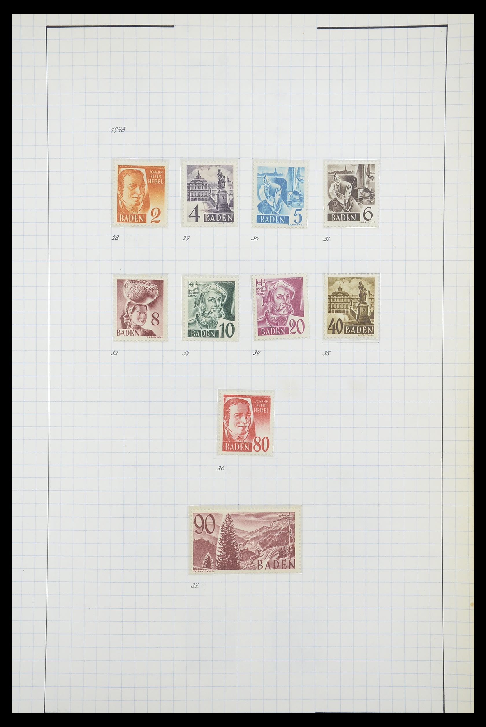33864 009 - Postzegelverzameling 33864 Franse Zone 1945-1949.