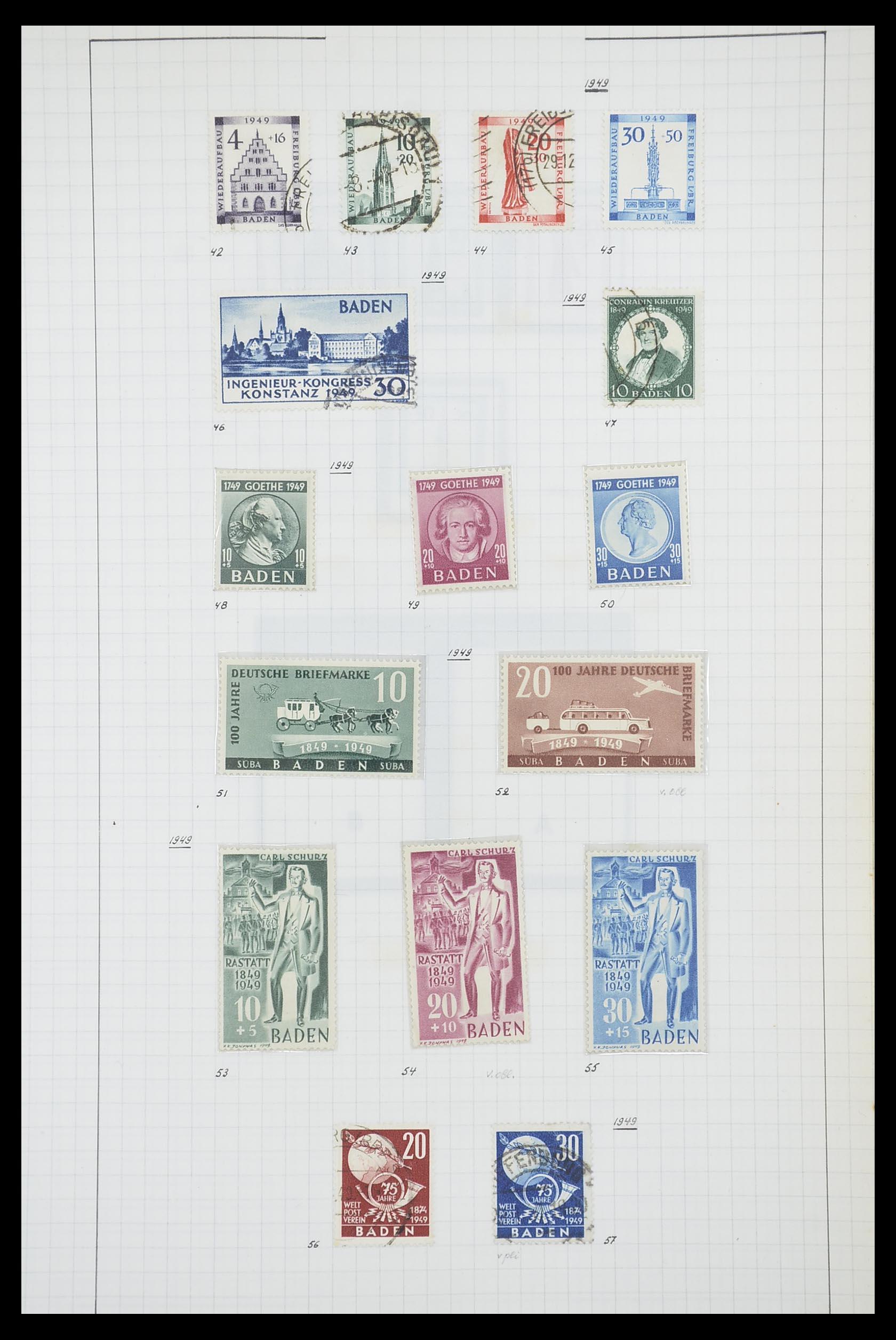 33864 010 - Postzegelverzameling 33864 Franse Zone 1945-1949.
