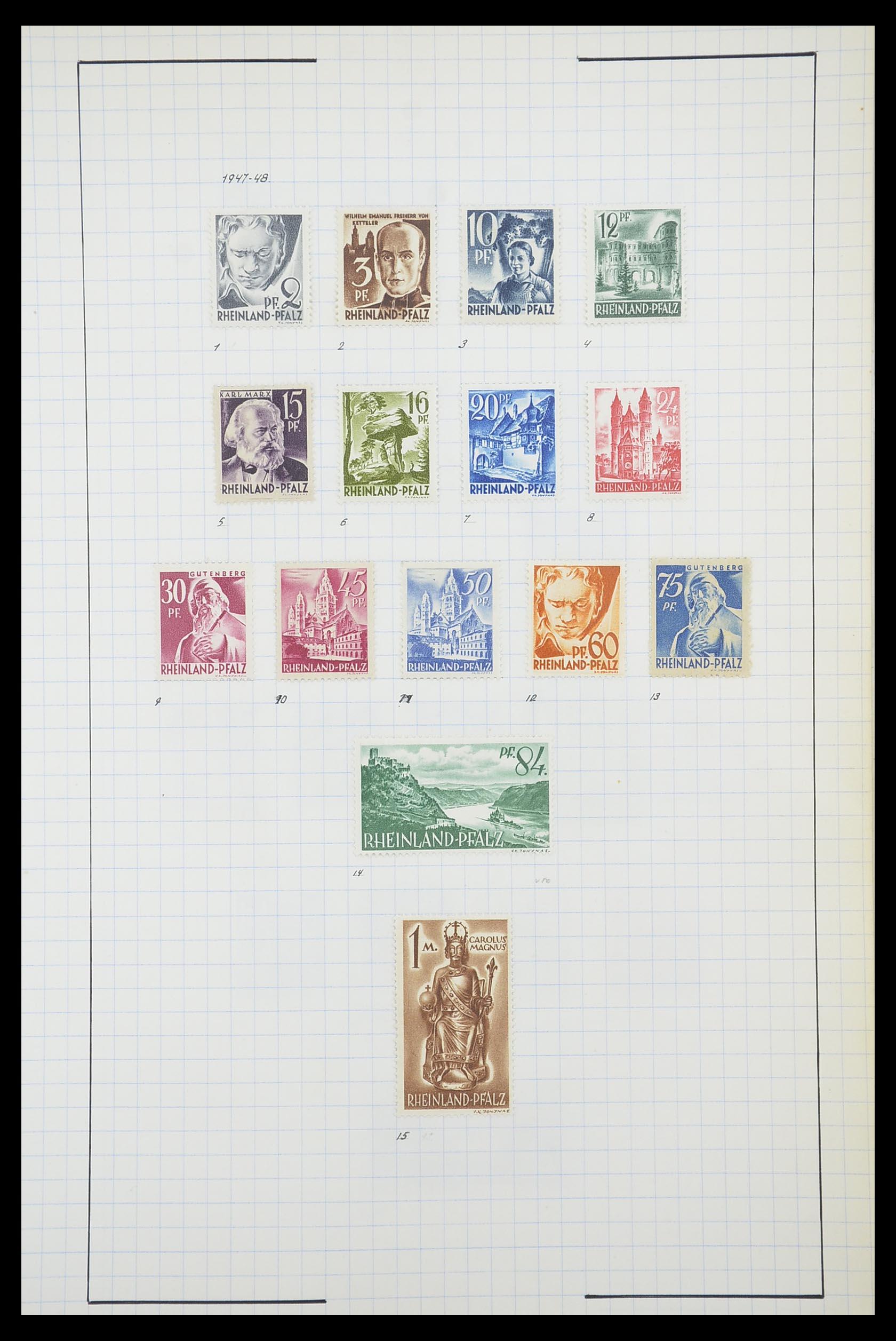 33864 015 - Postzegelverzameling 33864 Franse Zone 1945-1949.