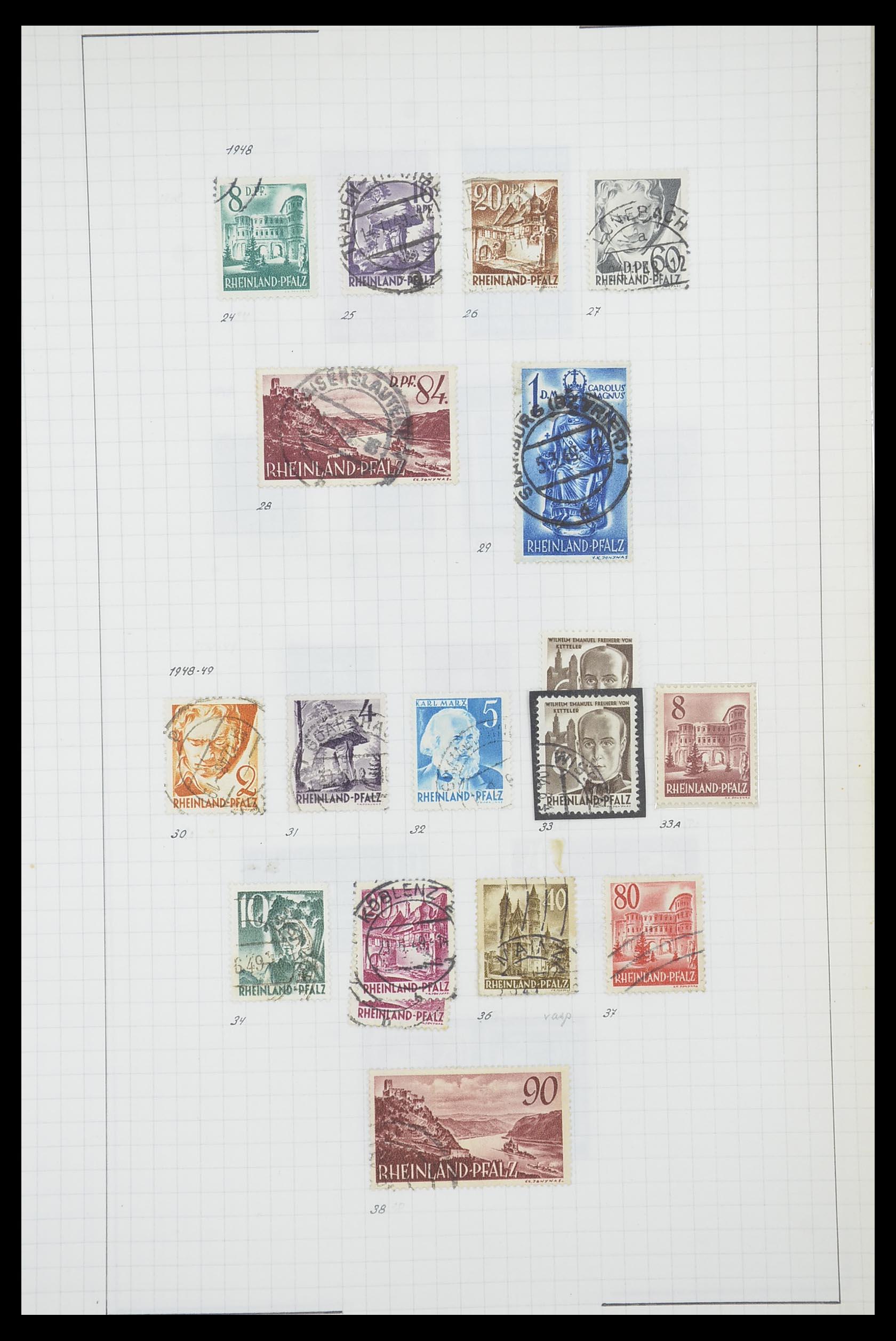 33864 016 - Postzegelverzameling 33864 Franse Zone 1945-1949.