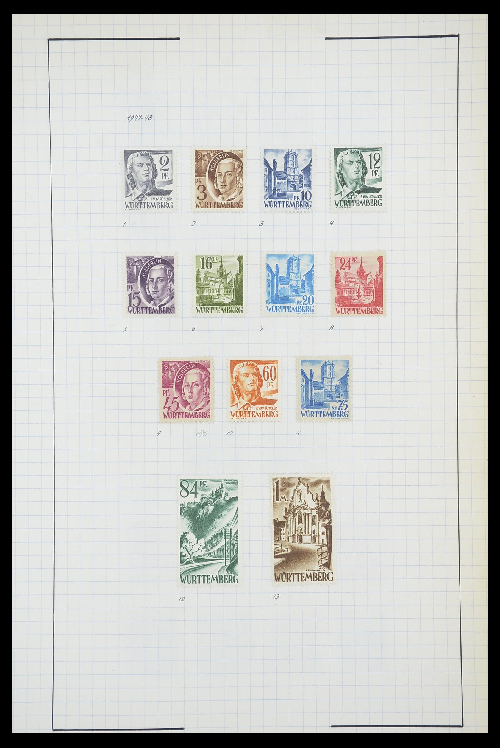 33864 019 - Postzegelverzameling 33864 Franse Zone 1945-1949.