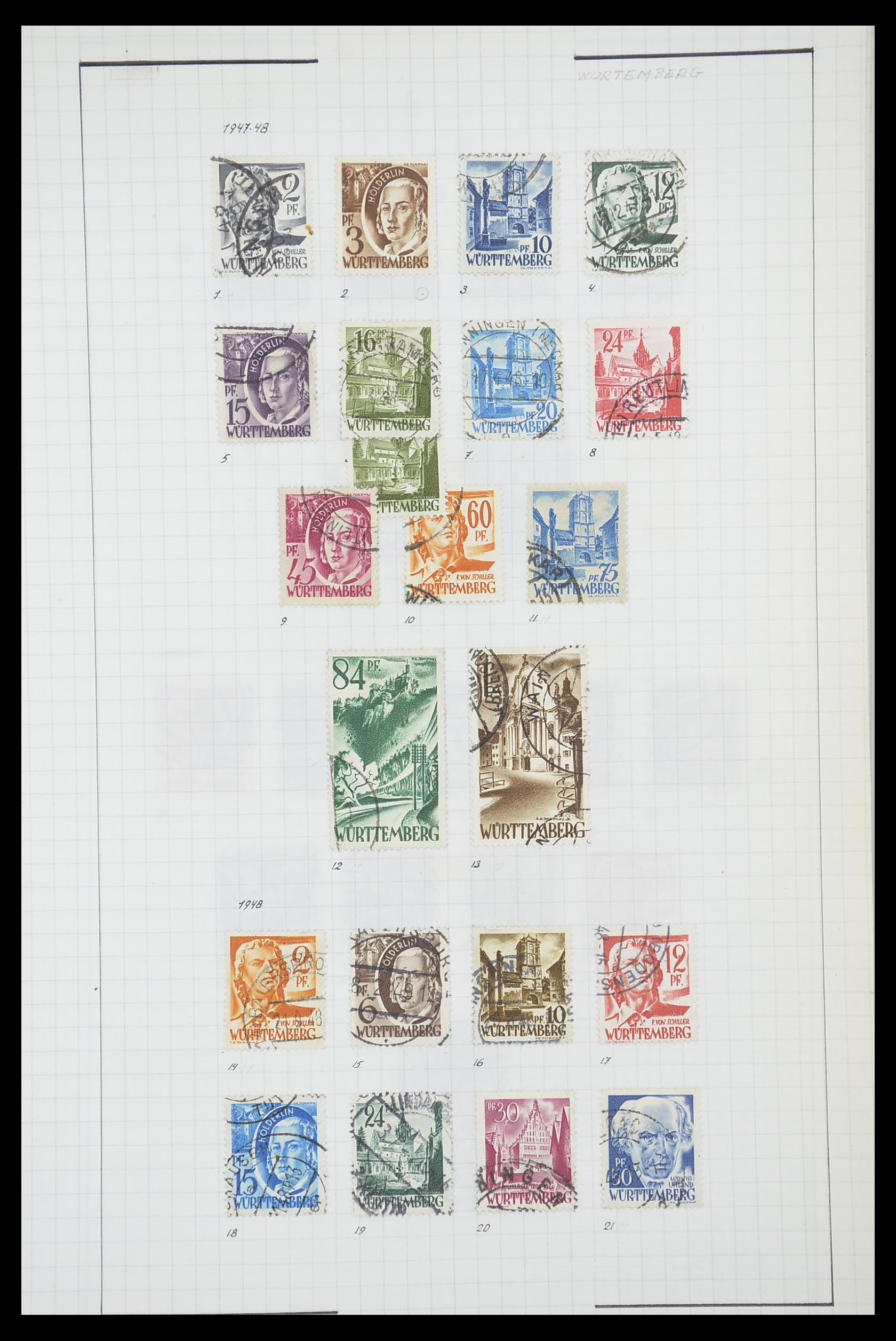33864 020 - Postzegelverzameling 33864 Franse Zone 1945-1949.