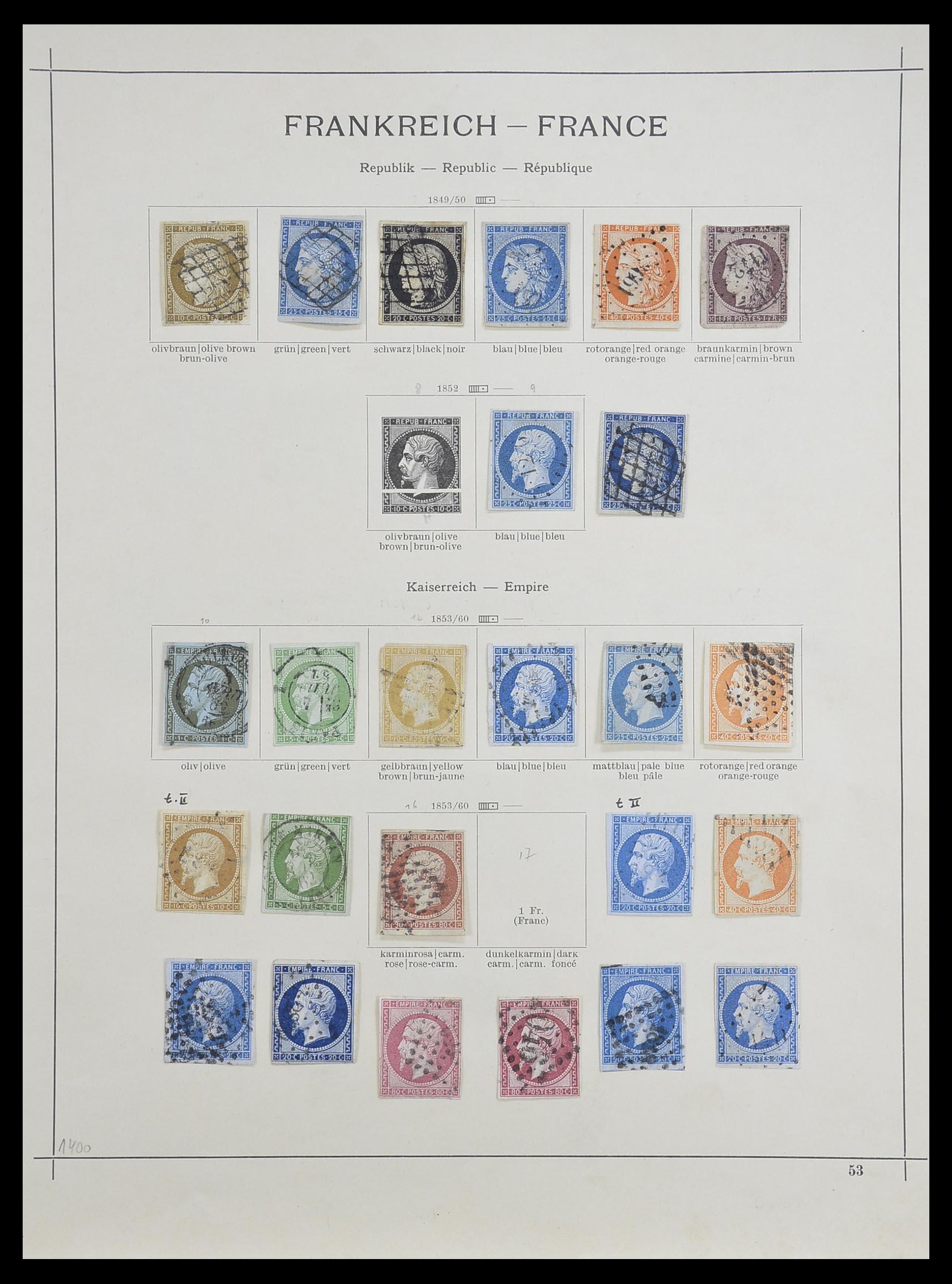 33919 001 - Postzegelverzameling 33919 Frankrijk 1849-1946.