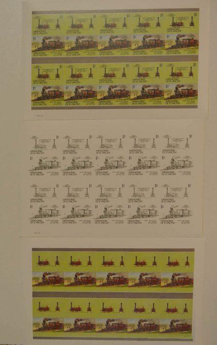 Postzegelverzameling 13050 Treinen.