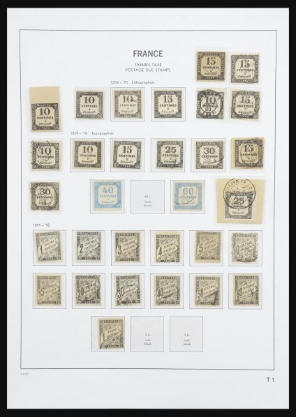 Postzegelverzameling 27971 Frankrijk port 1859-1946.