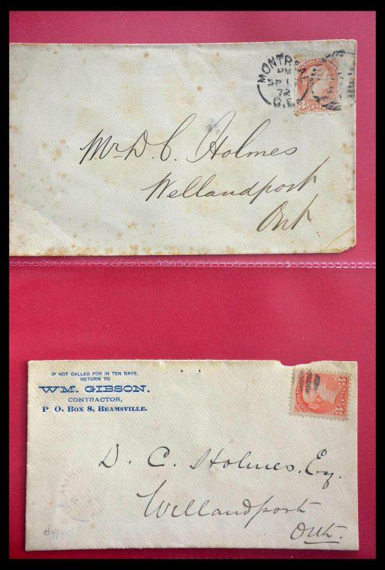 Postzegelverzameling 28696 Canada brieven 1872-1939.