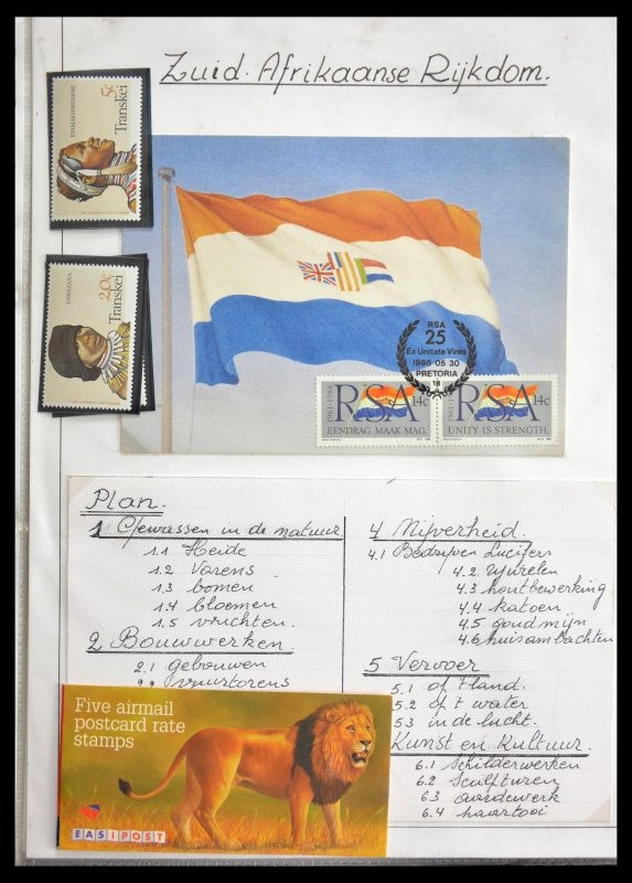 Postzegelverzameling 29055 Zuid Afrika en thuislanden1985-1995.