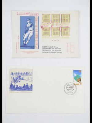 Postzegelverzameling 33667 Honkbal op brief 1918-1988.